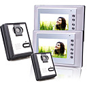 2 Alloy 7 Inch Color TFT LCD Video Door Phone Intercom System (2 Plastic Cameras)