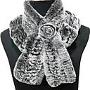 High Quality 100% Handmade Rex Rabbit Fur Brooke Scarf With Rosette More Colors Avalilable