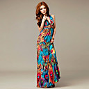 Halter/V-neck Chiffon Maxi Dress