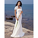 Trumpet/Mermaid Strapless Sweep/Brush Train Chiffon Wedding Dress With Lace Wrap