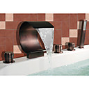 Oil-rubbed Bronze Waterfall Widespread Bathtub Faucet with Hand Shower (Curved Shape Design)