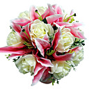 Pink Satin Lily & White Rose Bridal Bouquet