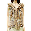 Hooded Genuine Raccoon/Rabbit Fur Vest With Fringe