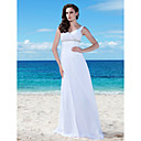 Sheath/ Column V-neck Floor-length Chiffon Lace Wedding Dress