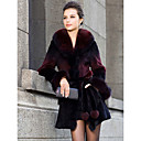 Shawl Collar Long Sleeve Rex Rabbit Fur Career/Casual Coat (More Colors)