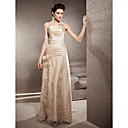 Sheath/Column Strapless Sweep/Brush Train Lace And Taffeta Wedding Dress