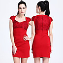 TS Geometric Neckline Lace Sheath Dress