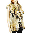 Genuine Rabbit/Raccoon Fur Vest With Fringed Collar And Trim