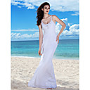 Sheath/Column Spaghetti Straps Floor-length Chiffon Wedding Gown