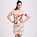 TS Heavy Embroidered Printed Silk Dress
