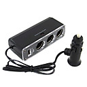 3 Way Car Cigarette Lighter Socket Splitter with USB