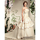 A-line Strapless Court Train Organza Satin Wedding Gown