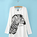 Zebra Print Loose Long Sleeve T-Shirt