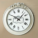White Wall Clock with Engraving Flower Decoration