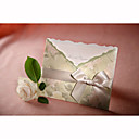 Personalized Green Flora Style Tri-folded Wedding Invitation With White Bow (Set of 50)