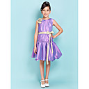 Ball Gown Jewel Knee-length Satin Junior Bridesmaid Dress