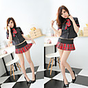 School Girl Sexy Check Pattern Skirt Costume (3 Pieces)