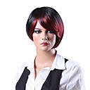 Capless High Quality Synthetic Fashion Short Black and Red Lady's Wig