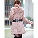 Long Sleeve Rabbit Fur Evening/Office Coat With Belt And Fox Fur Collar