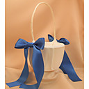Ivory Flower Girl Basket With Blue Ribbon