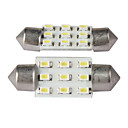 BA9s 9 LED interior del coche cpula de luz de lectura 2pcs (blanco)