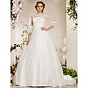 Ball Gown Bateau Chapel Train Lace Organza Weeding Dress