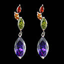 Long Strings Cubic Zirconia Earrings In Drops Shape