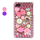 Pink Bowknot Pattern Rhinestone Case for iPhone 4 and 4S (Assorted Colors)