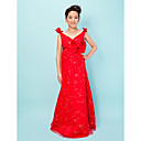 Sheath/Column V-neck Floor-length Chiffon Junior Bridesmaid Dress