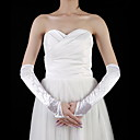 Satin Elbow Length Fingerless Bridal Gloves With Pearls