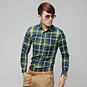 Simple Slim Fit Mens' Check Long Sleeve Shirt
