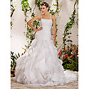Ball Gown Strapless Court Train Organza Wedding Dress