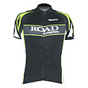 Kooplus-Men's 100% Polyester Short Sleeve Cycling Jersey (Road Green)