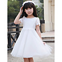 A-line Scoop Lace Satin Flower Girl Dress