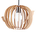 10in 40W Wood Pendant Light in Bird Cage Design
