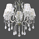 Elegant Crystal Pendant Lights with 5 Lights in Fabric Shade