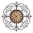 "24""Antique Style Floral Wall Clock in Metal"
