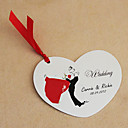Personalized Heart Shaped Wedding Invitation With Dancing Bride & Groom - Set Of 50