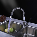 Brass Pull Down Kitchen Faucet with Color Changing LED Light - Spring