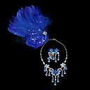 Gorgeous Feather With Rhinestones/Cubic Zirconia Jewelry Set (Necklace/Earrings/Headress Flower)