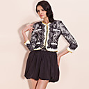 TS Contrast Color Lace Embroidery Short Blazer