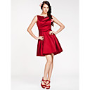A-line Bateau Short/Mini Satin Bridesmaid Dress