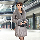 Luxurious Long Sleeve Party/Evening Lambskin Leather Coat(More Colors)