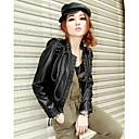 Long Sleeve  Standing Collar Party/ Career Lambskin Leather Jacket
