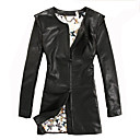 Long Sleeve Office/Casual Lambskin Leather Coat