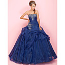 Ball Gown Sweetheart Floor-length Organza Prom Dress With Pick-up Skirt