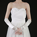 Satin Fingertips Elbow Length Bridal Gloves With Crystal (More Colors)