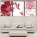 Butterfly Flower Canvas Wall Clock 3pcs