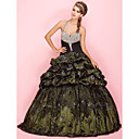 Ball Gown Halter Floor-length Taffeta Prom Dress With Pick-up Skirt