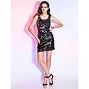 Sheath/Column Scoop Short/Mini Sequined Cocktail Dress